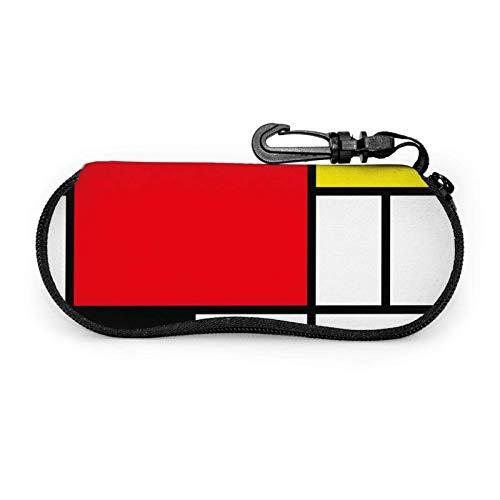 GOSMAO Funda Gafas Cuadrados de cubos abstractos Neopreno Estuche Ligero con Cremallera Suave Gafas Almacenaje