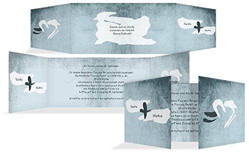 Hochzeitskarten: Einladungskarte Du+Ich=Liebe, hochwertige Einladung zur Heirat inklusive Umschläge | 15 Karten (format: 215.00x105.00mm) color: Türkis
