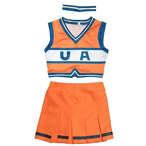 JiNKesI My Hero Academia Cheerleader Uniform Asui Tsuyu Ochaco Uraraka Cheerleading Uniform Sexy Kleid High School Mädchen Uniform Halloween Kostüm Cheer Uniform Mädchen Kleid mit Cheerleading Poms