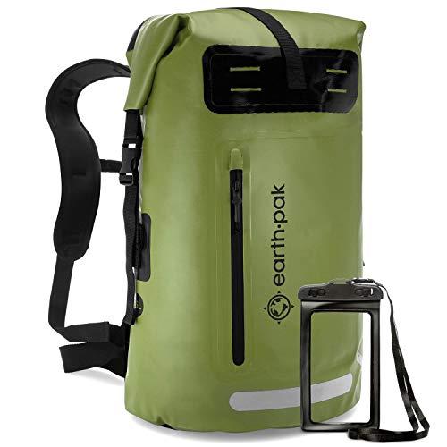 Earth Pak Summit Serie wasserdichter Rucksack, Backpack mit leistungsstarkem Reißverschluss und Rolltop, wasserfester Handyhülle Grün 35L