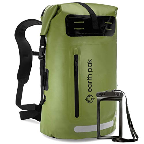 Earth Pak- Summit Series Waterproof Backpack Heavy Duty Roll-Top Closure and Cushioned Padded Back Panel (Green, 35L)