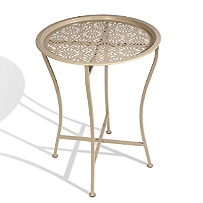Atlantic Daisy Tray Side Table - Tabletop Lifts Off to Serve as a Tray, Powder-Coated Metal Construction, Safe for Inside and Out, Folds for Small-Space Storage PN 82050198 in Stone