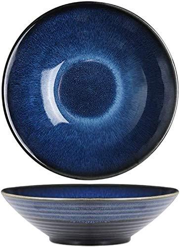 Porcelana Premium Tazón De Cereales Creativo Ensalada Simple Tazón De Fuente Japonesa Ramen Tazón Hogar Soup Bowl Postre De Helado Cuenco Blue Star Cerámica (Color: Azul, Tamaño: 19,5 * 6 Cm) for Cate