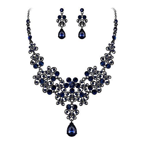 Clearine Juegos de Joyas de Mujer Forma Mariposa Lágrimas Encaje Flores Cristales Collar y Pendientes para Novia Boda Fiesta Azul Tono Negro