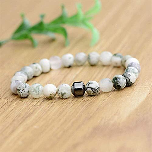 Pulsera de piedra Mujer, 7 chakra perlas de piedra natural de mármol brazalete elástico blanco afortunado pulsera de yoga equilibrio de la moda del encanto de la joyería para las mujeres del regalo de