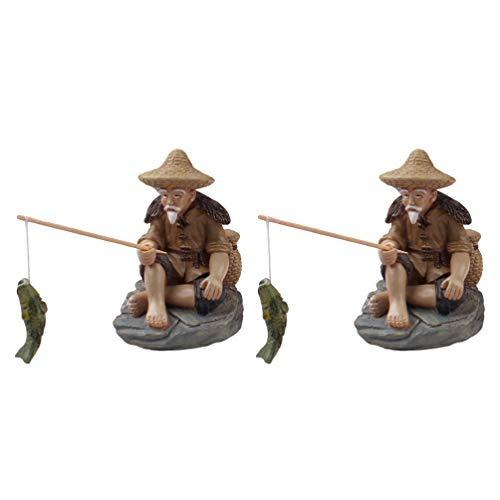 YARNOW 2Pcs Miniature Fisherman Figurine Mini Sitting Fisherman Garden Statue Resin Ornament for Fish Tank Sand Garden Micro Landscape Accessories