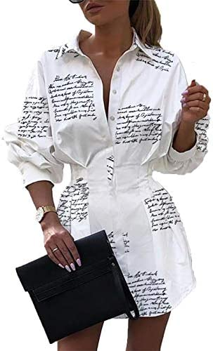 IyMoo Women s Cute Letter Print Belted Button up Collar Summer Short t Shirt Dress Blouse Tunic product image