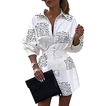 IyMoo Womens Casual Long Sleeve V Neck Button Down Fitted Shirt Mini Dress with Belt Letter White M