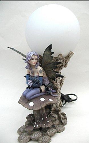 Lampe LUMINAIRE FÉE ET Dragon (MODELE E) - Lampe sur Globe - Statuette Figurine FÉE ET Dragon