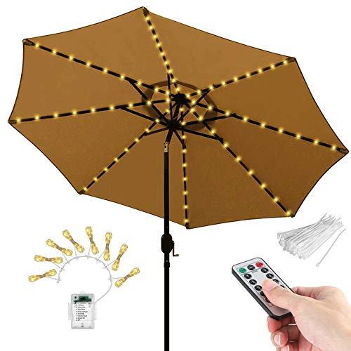 104 LEDs Patio Umbrella String Lights, 8 Lighting Mode with Remote Control Battery Operated Waterproof Outdoor Lighting for Patio Umbrellas Camping Tents Outdoor Use