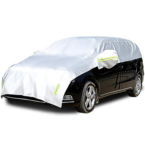 Konnfeir Half Car Cover with Cotton All Weather Car Body Covers Outdoor Indoor for All Season Waterproof Windproof Dustproof Snowproof Universal Car Half Cover (Fit MPV/SUV Length 185'' to 195'')