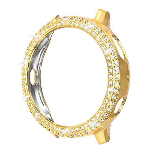 CMYYFA Moda de dos filas de diamante PC parachoques para Galaxy Watch Active 2 Case 40mm 44mm Active2 mujeres Bling Thin Cover Accesorios (color: oro, diámetro de la esfera: para Active2 40mm)