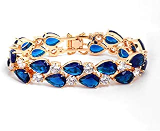 Fashion Lady 18K Gold Plated Elegant Luxurious Glisten Diamonds Bangle Crystal Charm Bracelet Blue