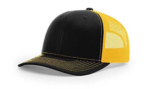 Richardson 112 Trucker OSFA Baseball Hat Ball Cap, Black/Charcoal, SIZE