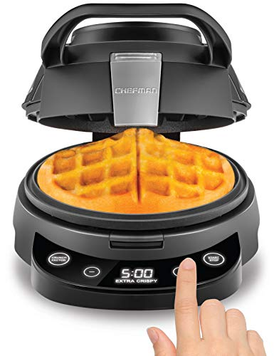 Chefman Belgian Waffle Maker, Round Non-Stick & Anti-Leak Iron Mess-Free Breakfast, Programmable Presets & Digital Touchscreen Display, Cleaning Tool & Measuring Cup Included, Digital