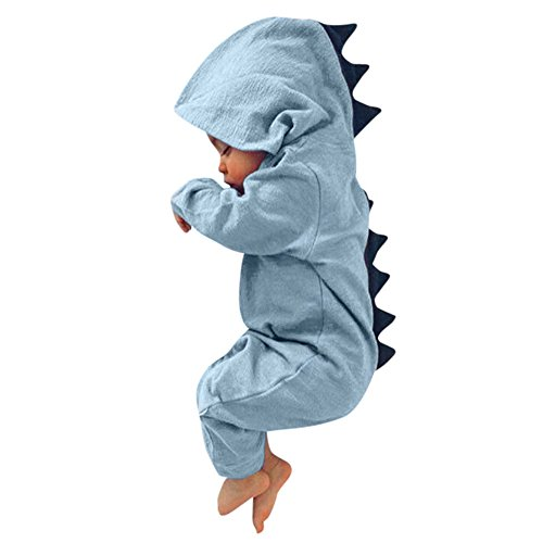 KaiCran Baby Layette Set Infant Baby Boy Girl Dinosaur Hooded Romper Jumpsuit Outfits Clothes (Blue, 60)