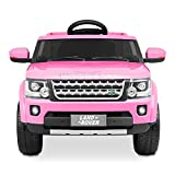 Kidzone Kids 12V Battery Powered Ride On Licensed Land Rover Discovery Vehicle 2 Speed, 2.4G Remote Control, 2 Doors Open, Four Wheels Suspension, LED Headlight, USB/AUX/FM Music, Pink