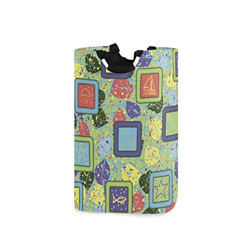 ZOMOY Multifunktionale Faltbarer Schmutzige Kleidung Wäschekorb,Seamless Texture Drawn Sea Objects Framework,Household Wäschebox Spielzeug Organizer Aufbewahrungsbeutel mit Henkel