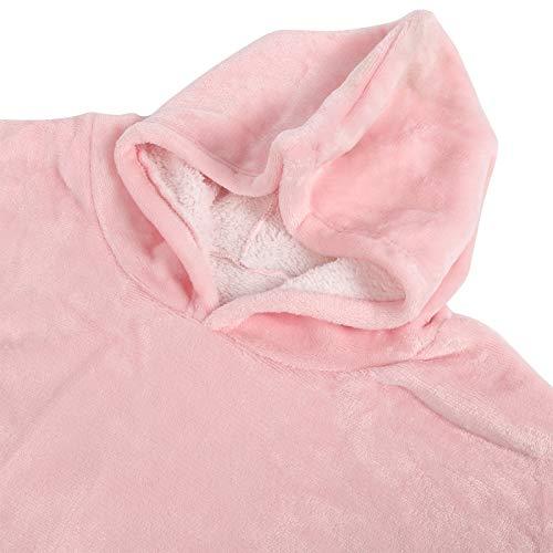 Uxsiya Ropa caliente polar franela con capucha manta franela Sleepwr mantener caliente hogar para sala de estar (rosa)