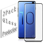 S10 Plus Screen Protector for Galaxy S10 Plus No Bubbles Case Friendly Tempered Glass Black 2-Pack