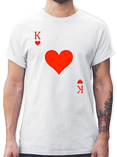 Karneval & Fasching - King Kartenspiel Karneval Kostüm - XL - Weiß - Karneval kostüme männer 3XL - L190 - Tshirt Herren und Männer T-Shirts