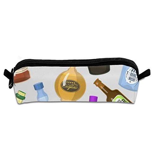Portable Pencil Case Strong Drinks Bottles Cocktail Glasses Whiskey Cognac Brandy Beer Wine Cool Cold Alcoholic Liquor Beverage Pen Bag Cosmetic Pouch Zipper for School