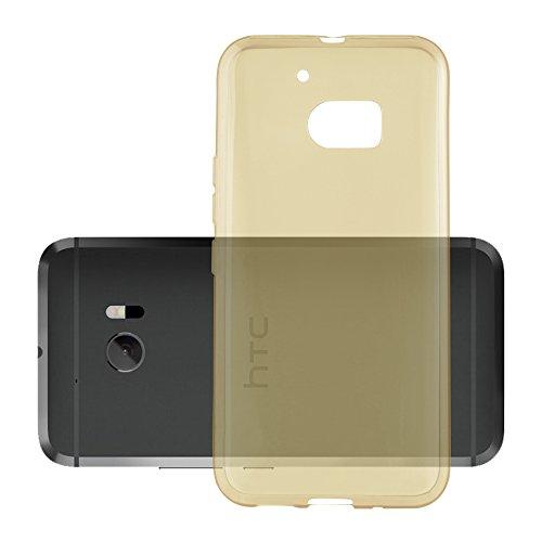 Cadorabo Hülle für HTC 10 (One M10) in TRANSPARENT Gold - Handyhülle aus flexiblem TPU Silikon - Silikonhülle Schutzhülle Ultra Slim Soft Back Cover Hülle Bumper