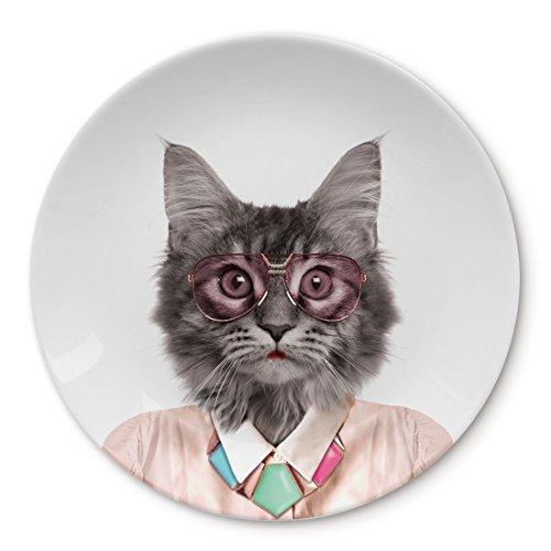 MUSTARD - Wild Dining Cat Dinner Plate I Keramik Teller I 100% Keramik I Runder Essteller I besonders I lustiger Speiseteller I Teller mit Tierprint I Geschenkidee für Studenten - Coole Katze