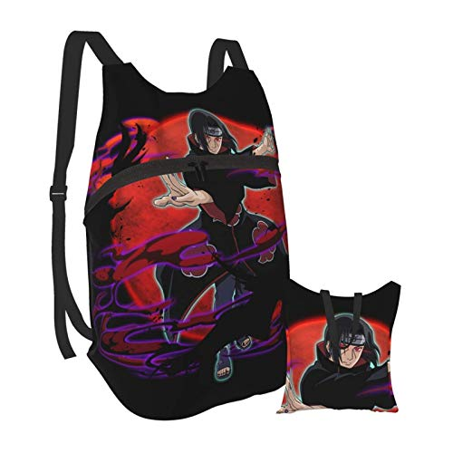 Naruto Uchiha Itachi Folding Portable Backpack Lightweight Packable Backpacks Travel Hiking Daypack Water Resistant Camping Outdoor Foldable for Men Women Travel Hiking Waterproof Backpack