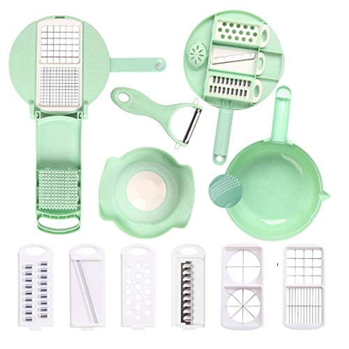 Zhangqian 13 in 1 Manual Kitchen Multifunctional Cutter Slicer with Filter Basket-Vegetable Food Chopper Slicer - Potato Onion Chopper with Container,Green
