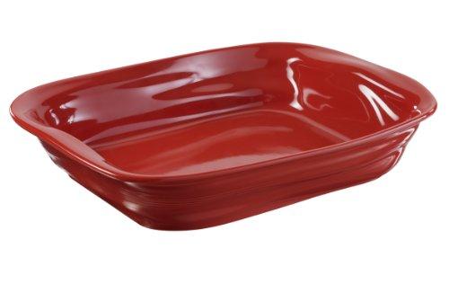 Revol 644784 Plat à Four Rectangulaire Porcelaine Rouge Piment 38,5 x 28,5 x 7,5 cm