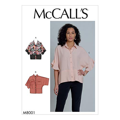 McCall's M8001Y Women's Short Sleeve Blouse Sewing Patterns, Sizes 4-14, Various, White