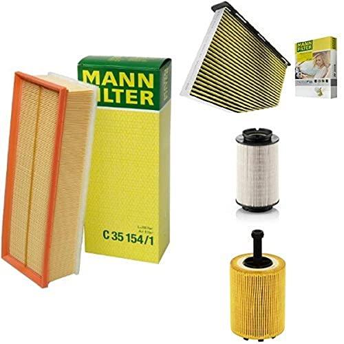 Mann-Filter Service Paket mit 1x Luftfilter C35154/1, 1x Freciousplus Innenraumfilter FP2939, 1x Kraftstofffilter PU936/2X, 1x Ölfilter HU719/7X