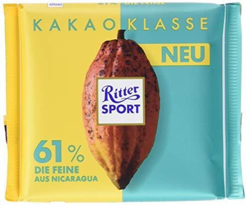 RITTER SPORT Kakao-Klasse: Die Feine 61 % aus Nicaragua (12 x 100 g), Edel-Bitterschokolade mit 100 % zertifiziertem Kakao aus Nicaragua, besondere Schokolade, Kakaogehalt: mind. 61 %