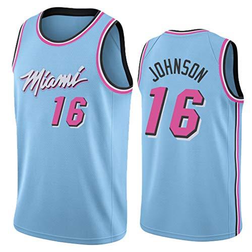 KJX Camiseta de baloncesto Miami para hombre, temporada 2020/2021 16# Johnson City Edition Jersey, unisex, casual, deportes, camisetas sin mangas, camiseta (S-XXL) XL