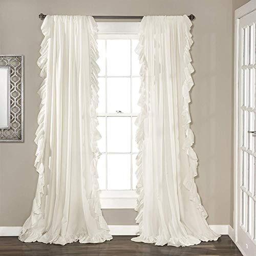Be&xn Elegante Volant schiebegardinen,Vintage Schick Stil Vorhänge Blackout Vorhang Für mädchenzimmer Wohnzimmer, 1panel-Weiß W150xH240cm(59x94inch)