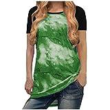 YANFANG Camiseta Suelta De Patchwork con Estampado TeñIdo Anudado Manga Corta para Mujer Blusa Cuello En O Tops,Camisas Y Blusas 2021,Camisa Estampada,Camisas Informal,Verde,L