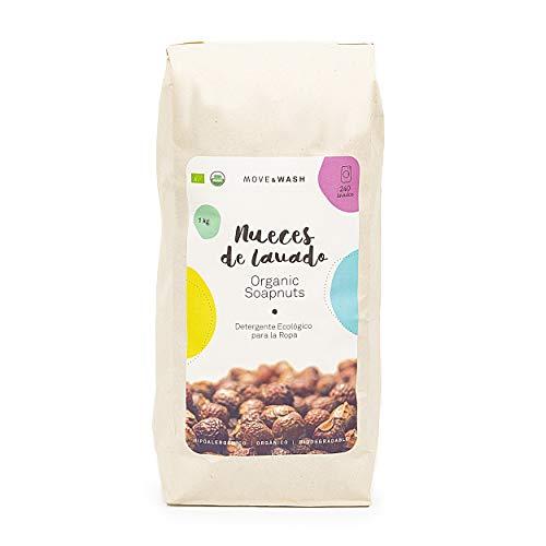Move & Wash 1 kilo de Nueces de lavado de cultivo orgánico en bolsa de papel ecológico. Certificado EU Organic y USDA Organic - Zero Waste