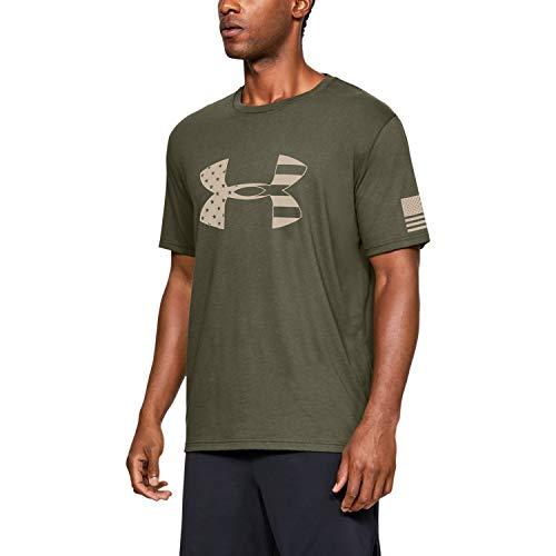 Under Armour Men's Freedom Tonal Big Flag Logo T-Shirt , Marine Od Green (390)/Desert Sand , X-Large