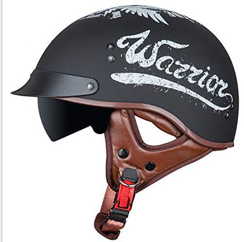 GAOZHE Hombres Casco Moto Abierto Medio, CascoRetro Vintage Style Cascos ECE Homologado Half-Helmet con Visera Casco Moto Abierto para Adultos,Jet para Street Bike Cruiser Chopper Moped Scooter