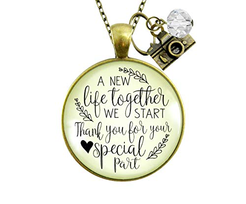 """Gutsy Goodness 24"""" Wedding Photographer Gift Necklace A New Life Camera Charm Thank You"""
