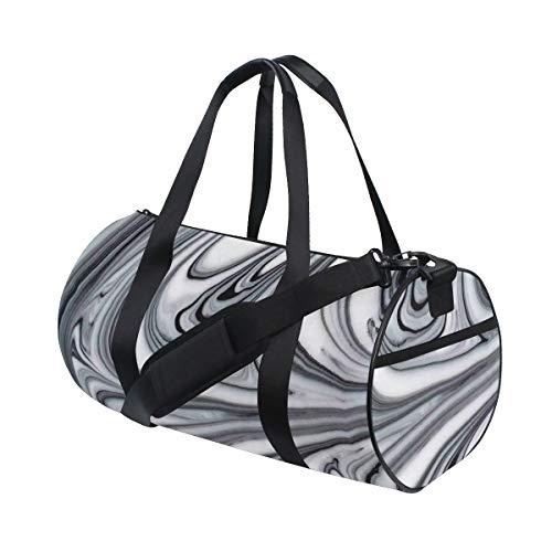 HARXISE Bolsa de Viaje,Mezcla de Figuras de mármol líquido Blanco y Negro alucinante Surrealista Obra gráfica,Bolsa de Deporte con Compartimento para Sports Gym Bag