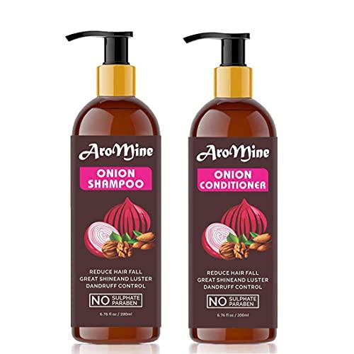 Glamorous Hub Aromine Red Onion Hair Oil Champú (200 ml) y acondicionador de cebolla roja (200 ml) Combo Pack para cabello largo, brillante y saludable