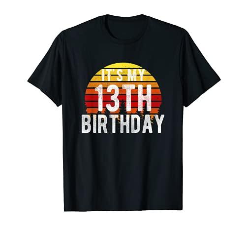 Funny It's My 13th Birthday Camisa retro vintage regalos de puesta de sol Camiseta