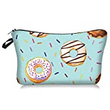 Waterproof Small Travel Donut Makeup Organizer Bag Cute Cosmetic Case Portable Zipper Toiletry Pouch Storage Bag for Purse for Girls Womens