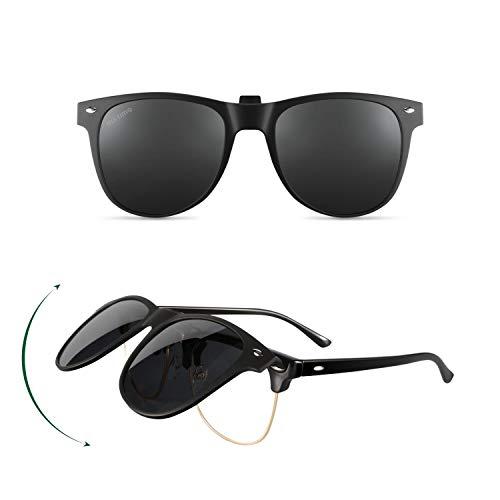 Eli-time Polarized Clip-on Sonnenbrillen Herren Damen Korrekturbrillen mit Flip Up - Gute Clip-Sonnenbrille für brillenträger, Outdoor/Driving, mattes Gestell mit mehrfarbig verspiegelten Gläsern