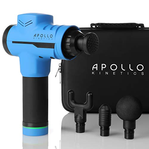 Apollo Kinetics Portable Electric Deep Tissue Percussion Massage Gun - Hand Held Cordless Design Full Body Muscle Massager Drill, Pain Relief Recovery Stimulator, 4 Heads & Carry Case Included