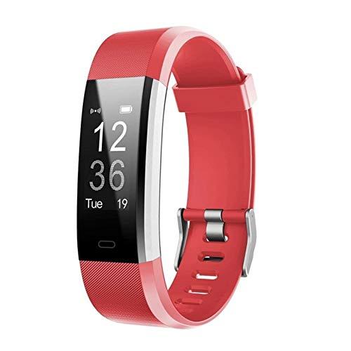 LYB Onliving Smart Watch Fitness Muñequera Carta del Corazón Presión Arterial Pulsera Smart Band Pulsera Monitor De Salud para iOS Y Android (Color : Red)