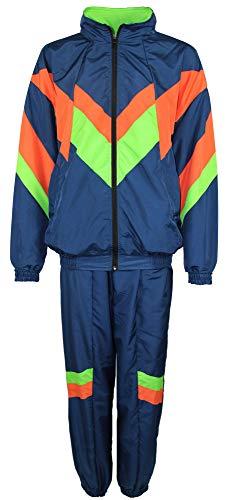 Foxxeo 80er Jahre Kostüm für Erwachsene Premium 80s Trainingsanzug Assianzug Assi - Herren Größe S-XXXXL - Fasching Karneval Anzug, Farbe blau orange grün, Größe: M