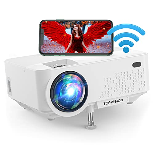 """WIFI Projector,Top vision 6500L Outdoor Portable Projector,240"""" Display Full HD 1080P Home Theater Movie Projector,Wireless Smart Connection Compatible with iPhone/Android/TV Stick/USB/HDMI/VGA/AV/SD."""